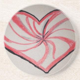 Hierbabuena en forma de corazón posavasos para bebidas