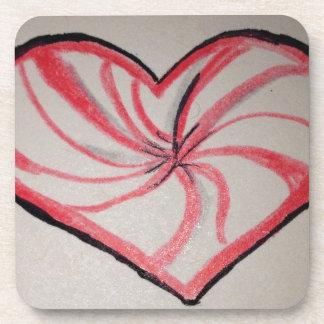 Hierbabuena en forma de corazón posavaso