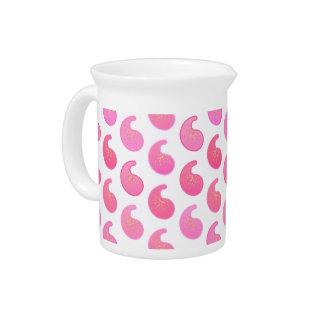 Hierbabuena Paisley rosada en blanco Jarrón
