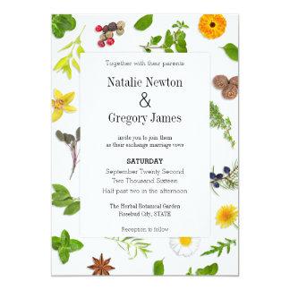 Hierbas botánicas que casan la invitación