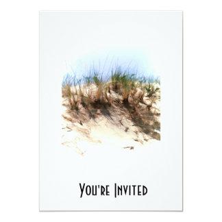 Hierbas de la duna de arena del bosquejo del color invitación 12,7 x 17,8 cm