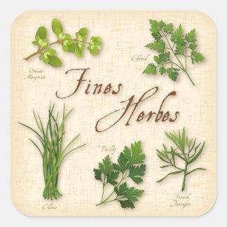 Hierbas de las multas, receta, perejil, pegatina cuadrada
