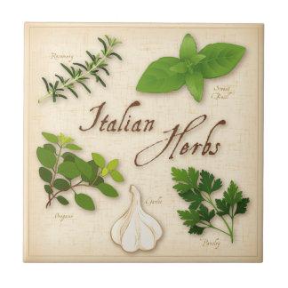 Hierbas italianas, albahaca, orégano, perejil, ajo azulejo cuadrado pequeño