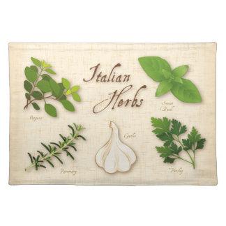 Hierbas italianas, albahaca, orégano, perejil, ajo mantel