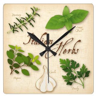 Hierbas italianas, albahaca, orégano, perejil, ajo reloj cuadrado