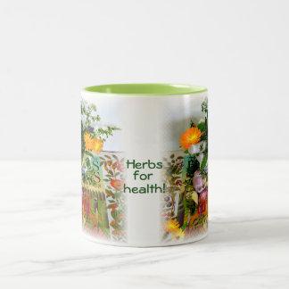 Hierbas para la salud taza de café de dos colores