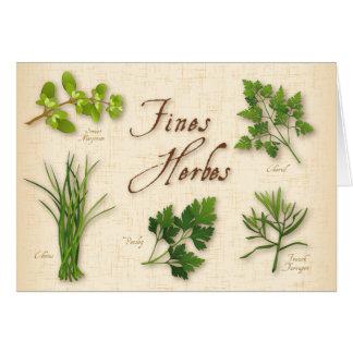 Hierbas receta, perejil, cebolletas, estragón de tarjeta de felicitación