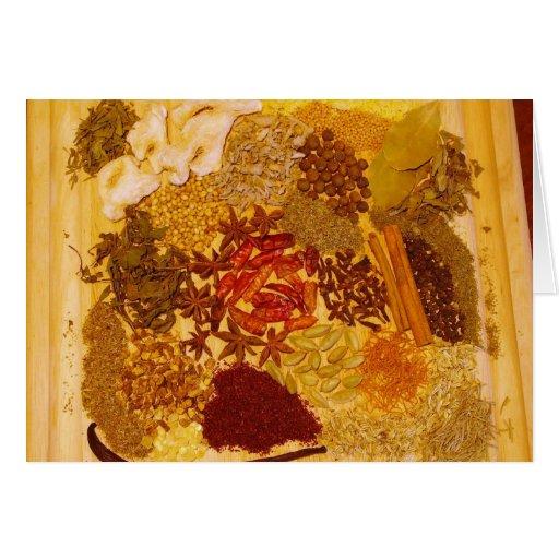Hierbas y collage de las especias felicitación