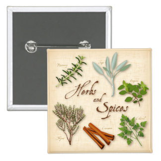 Hierbas y especias, Rosemary, sabio, tomillo, Pin Cuadrado