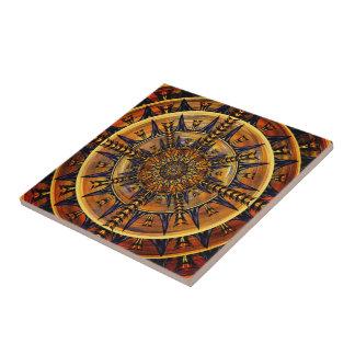 Hieroglyph Moth Kaleidoscope in Rich Colors Ceramic Tile