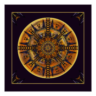 Hieroglyph Moth Mandala Art Print
