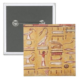 Hieroglyphics, de la tumba de Seti I Pin Cuadrada 5 Cm