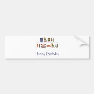 Hieroglyphics del egipcio del feliz cumpleaños pegatina de parachoque