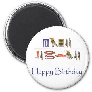 Hieroglyphics del egipcio del feliz cumpleaños imán redondo 5 cm