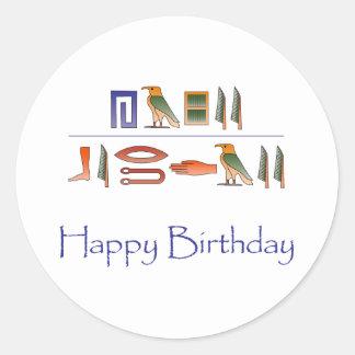 Hieroglyphics del egipcio del feliz cumpleaños pegatina redonda