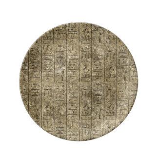 Hieroglyphics egipcios plato de cerámica