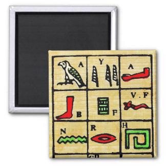Hieroglyphics egipcios, símbolos alfabéticos imán cuadrado