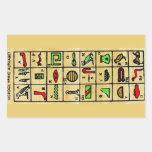 Hieroglyphics egipcios, símbolos alfabéticos rectangular pegatinas
