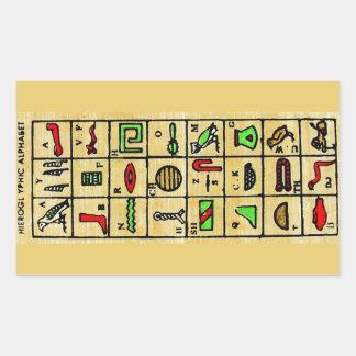 Hieroglyphics egipcios, símbolos alfabéticos pegatina rectangular