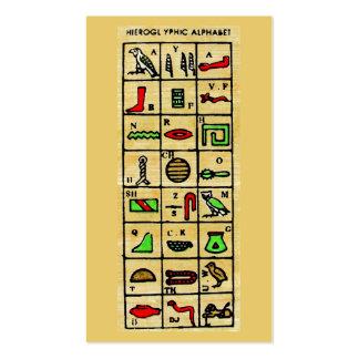 Hieroglyphics egipcios, símbolos alfabéticos tarjetas de visita