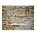 Hieroglyphics en una pared de piedra tarjeta postal