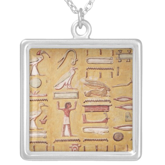 Hieroglyphics, from the Tomb of Seti I Silver Plated Necklace
