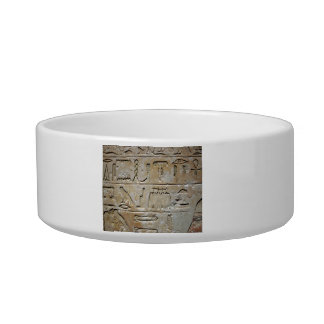 Hieroglyphics on a stone wall cat food bowl