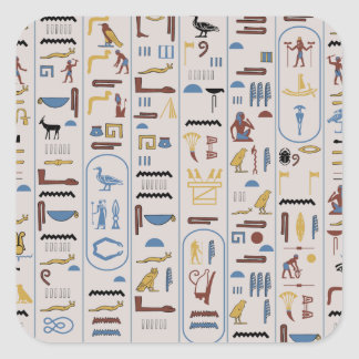 Hieroglyphs Ash Color Pharaoh Square Sticker