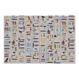 Hieroglyphs Pharaoh Ash Background Poster