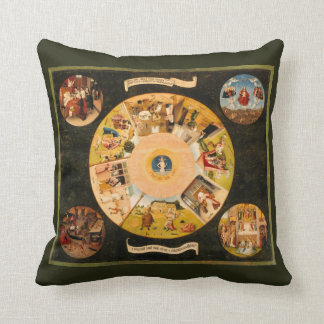 Hieronymous Bosch: Table of the mortal sins Throw Pillow