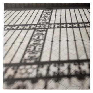 hierro adornado que cerca la sombra en suelo de ba azulejo