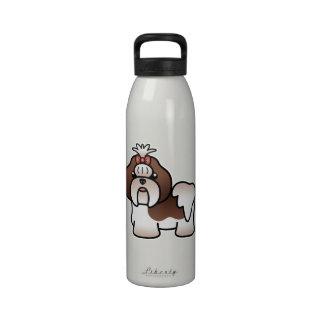 Hígado y dibujo animado blanco Shih Tzu Botellas De Beber