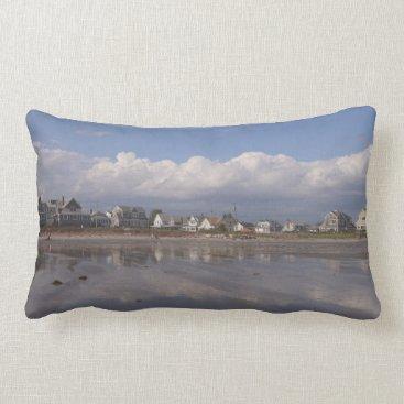 Beach Themed Higgins Beach Day with Billowy Clouds Lumbar Pillow