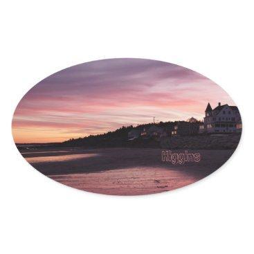 Beach Themed Higgins Beach Sunset Oval Sticker