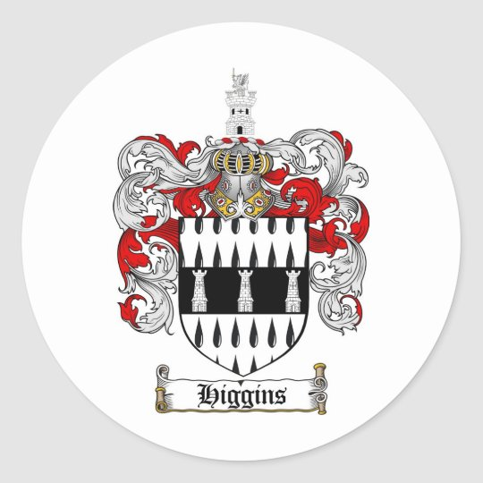 HIGGINS FAMILY CREST -  HIGGINS COAT OF ARMS CLASSIC ROUND STICKER
