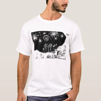 Higgins Fourth Fireworks Cartoon T-Shirt
