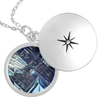 High Above The City Silver Plated Locket Necklace