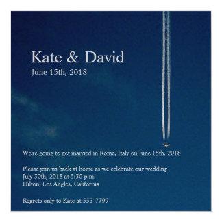 High Altitude Airplane Destination Wedding Custom Card