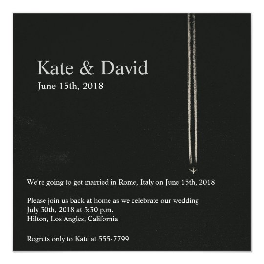 High Altitude Airplane Destination Wedding Custom Card
