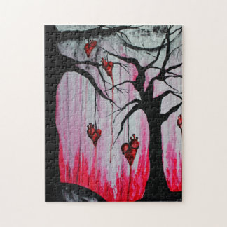 High and Dry Heart Trees Goth Hearts Original Art Jigsaw Puzzle