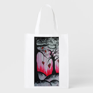 High and Dry Hearts Trees Goth Love Original Art Grocery Bag