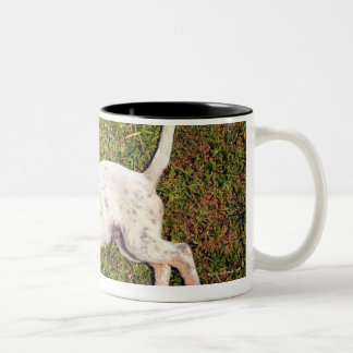High angle of a dog lying in the grass sleeping. Two-Tone coffee mug
