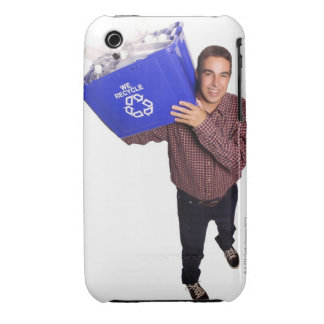 High angle of a man smiling while holding a Case-Mate iPhone 3 cases