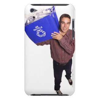 High angle of a man smiling while holding a iPod touch case