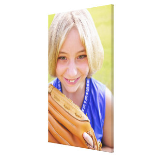 High angle portrait of a softball player smiling canvas print