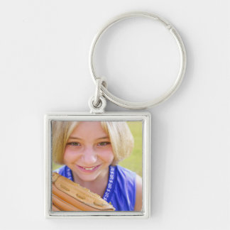 High angle portrait of a softball player smiling keychain