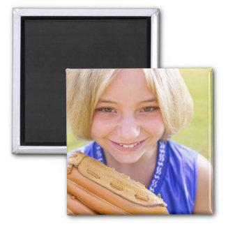 High angle portrait of a softball player smiling fridge magnet
