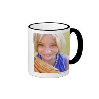 High angle portrait of a softball player smiling coffee mugs