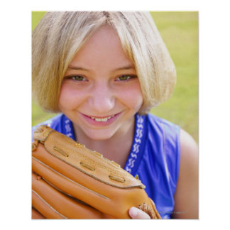 High angle portrait of a softball player smiling posters