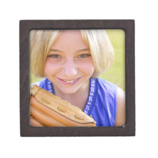 High angle portrait of a softball player smiling premium trinket boxes